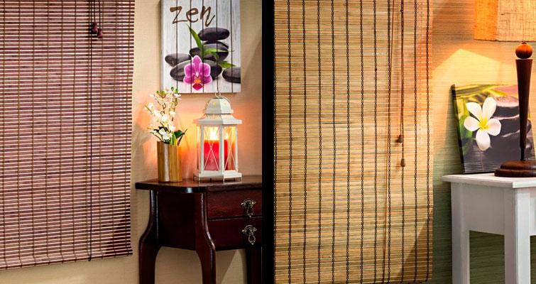 Inspiração no bambu: cortina rolo de bambu.