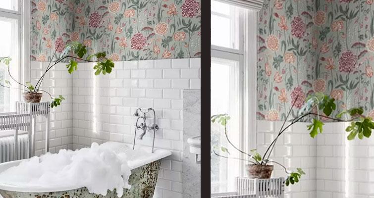 Veja esse banheiro com papel de parede de estampa floral!
