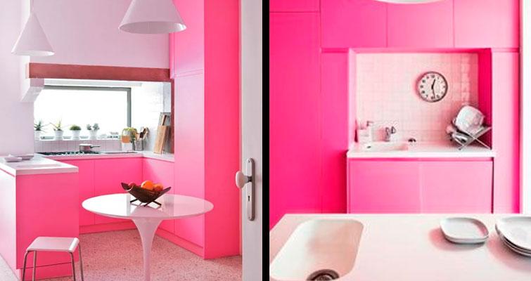 Cozinha monocromática: Rosa Statement.